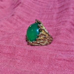 JEWELMINT Rock Fusion Green & Gold Statement Ring